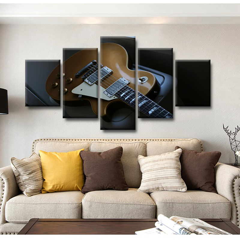 Moderne Leinwandbilder Gedruckte Wandkunst Modular 5 Panel Gitarre Musikinstrumente Poster Wohnzimmer Wohnkultur Malerei Rahmen