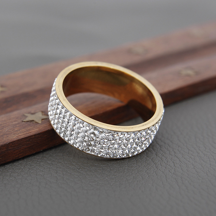 Fashion Lovers Rings Crystal Gold Silver Width Metal Women Men Elegant Jewelry Engagement Shiny New Style Hot