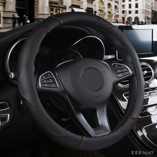 PU Leather steering wheel cover to protect from heat.