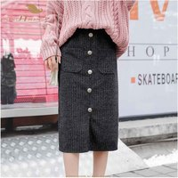 SISHION Women Autumn Winter Skirt Ladies Plus Size 5XL Warm with Pocket Midi Knitted Knit Skirt VD0993