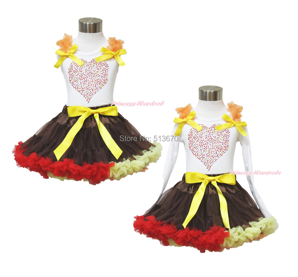 Valentine's Day Rhinestone Heart White Top Brown Pettiskirt Girl Outfit Set 1-8Y MAPSA0030 xmas red orange yellow black roses brown top baby girl pettiskirt outfit 1 8y mapsa0038