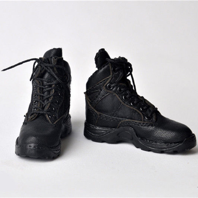 1pair 1 6 scale male man boy black leather cloth straps combat shoes short boots for 12 39 39 man action figure body accessory in Action amp Toy Figures from Toys amp Hobbies