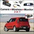 3 in1 Especial Cámara de Visión Trasera + Receptor Inalámbrico + Sistema de Aparcamiento Monitor del Espejo Para Kia Soul 2009 ~ 2011