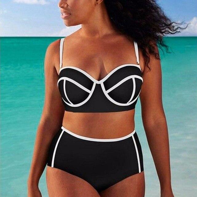 64ee3433d94f6 Plus Size Women Swimwear High Waist Bikini Swimming Suit Large Size Swimsuit  Micro Biquini Bathing Suit Female Maillot De Bain