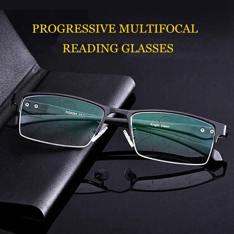 Intelligent TR90 ultraléger anti blu ray presbyte multifocales progressives lunettes de lecture hommes lunettes lentille vieux voir loin près