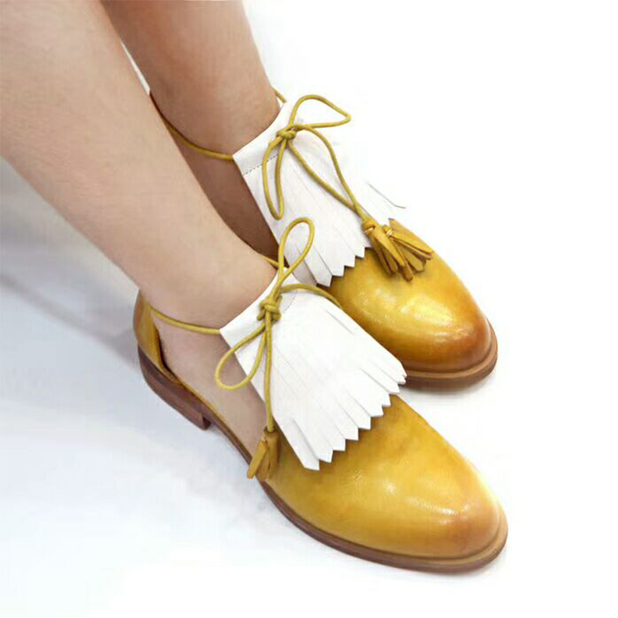 Women Genuine sheepskin Leather brogues flats Sandals tassel shoes yinzo lady handmade vintage oxford shoes yellow