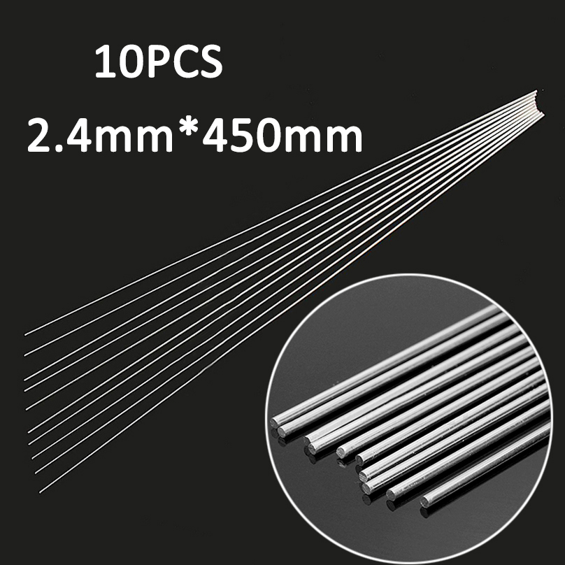 10pcs Low Temperature Welding Rod Silver Metal Aluminum Magnesium Soldering Brazing Stick Rod 2.4mmx450mm