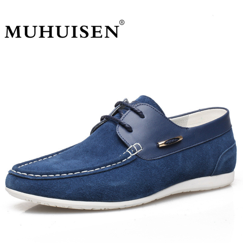 MUHUISEN Men's Casual Shoes Autumn Genuine Leather Shoes Men Loafers Moccasins Male Spring Cow Suede Driving Shoes spring autumn men loafers genuine leather casual men shoes fashion driving shoes moccasins flats gommino male footwear rmc 320