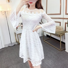 Womens Dress Sexy Party Lace Hollow Slim Strapless Trumpet Sleeve A-line Dresses