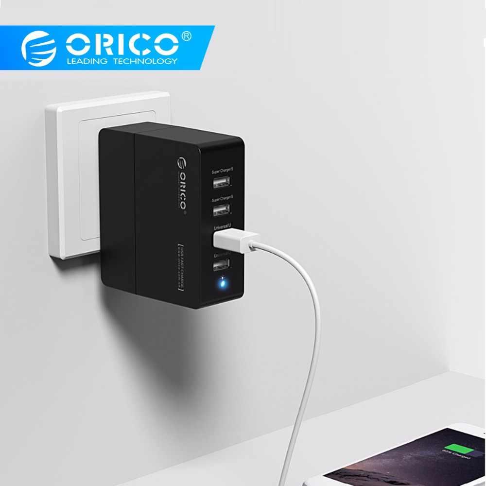ORICO 4 منافذ USB شاحن بقابس أمريكي السفر الحائط مهايئ شاحن 5V2. 4A 5V1. 5A 12 W المحمولة ABS + PC الذكية الهاتف المحمول شاحن