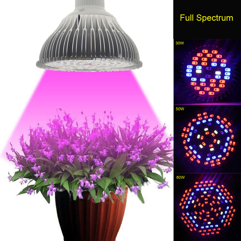 30W/50W/80W AC85~265V Full Spectrum UV+IR E27 LED Grow Light For Flowering  Plant And Hydroponics System LED Aquarium Lamp In LED Grow Lights From  Lights ...