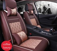 Auto Car Seat Cover full sets Universal Fit 5 seat SUV sedans front/back mats automotive interior imitation leather+ice silk Wh