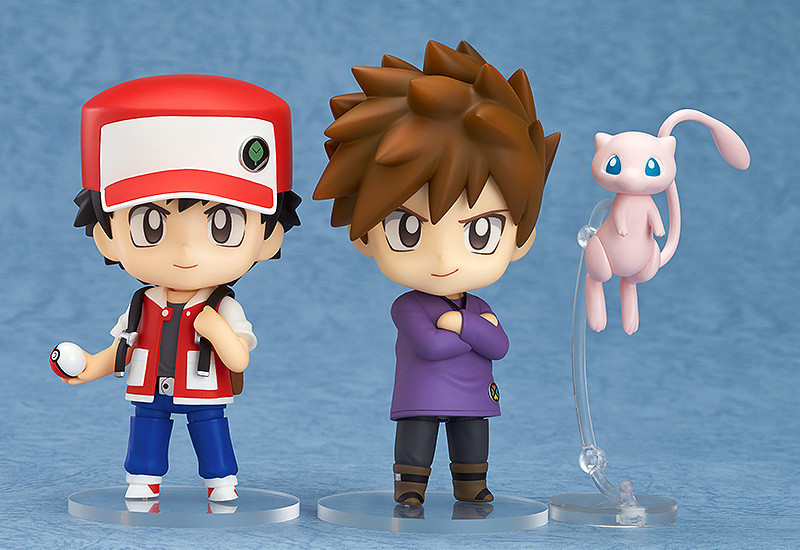 Free Shipping Cute 4 Nendoroid Anime Ash Ketchum & Gary Oak & Mew Boxed 10cm PVC Action Figure Model Collection Toy Gift #612