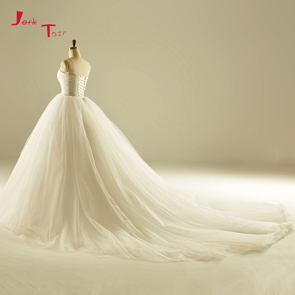 d61068ac69 Jark Tozr Robe De Mariee Beading Pearls Flowers Bridal Dress Ivory ...