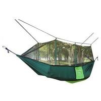 AOTU 260 140cm Double Hammock With Mosquito Mesh Garden Parachute Cloth Permeability Camping Leisure Hammocks Green