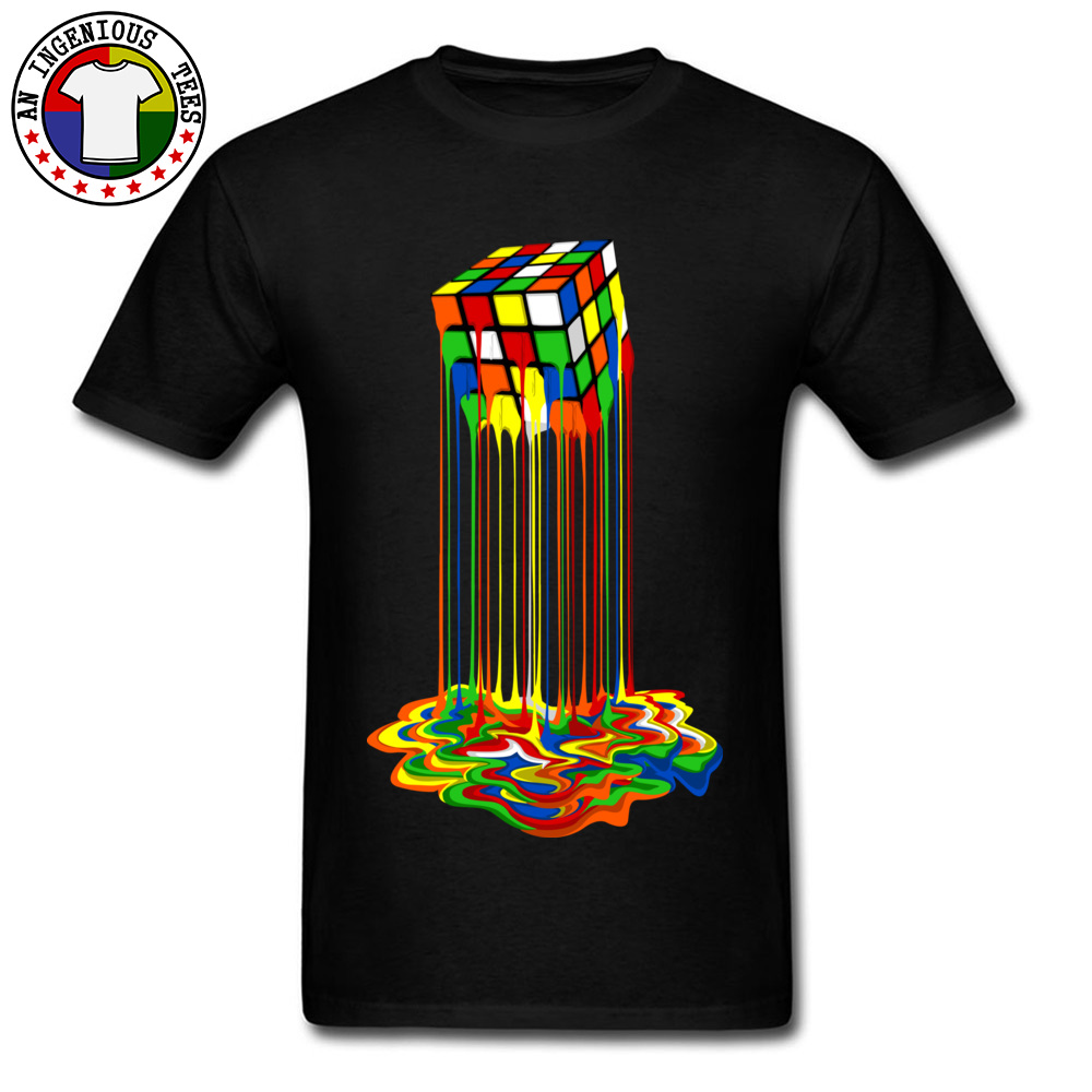 Sheldon Cooper Tshirt Rainbow Abstraction Melted Cube Image Pure Cotton Young T-Shirt Best Gift Men Tops & Tees Good Quality