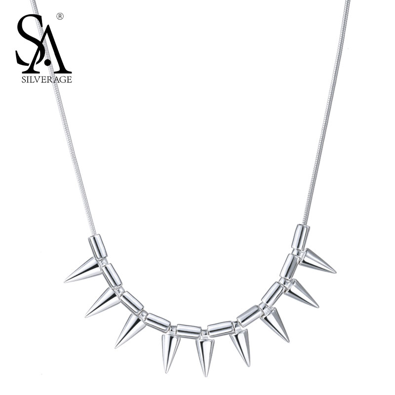 SA SILVERAGE 925 Sterling Silver Rock Necklaces for Women Long Chain Cone Necklaces & pendants bijoux a suit of chic chain necklaces for women