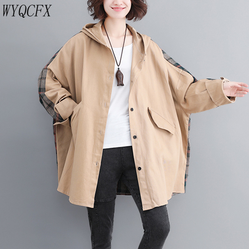 2019   Trench   Coat For Women Plus Size casual loose Long Windbreaker spring Autumn Female Fashion Plaid Patchwork Hooded Outerwear