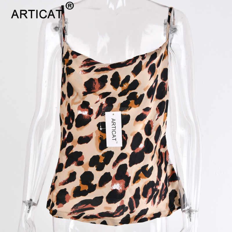 60503dc7296d ... Articat Leopard Print V Neck Sexy Crop Top Women Bustiers Spaghetti  Strap Backless Short Tank Top ...