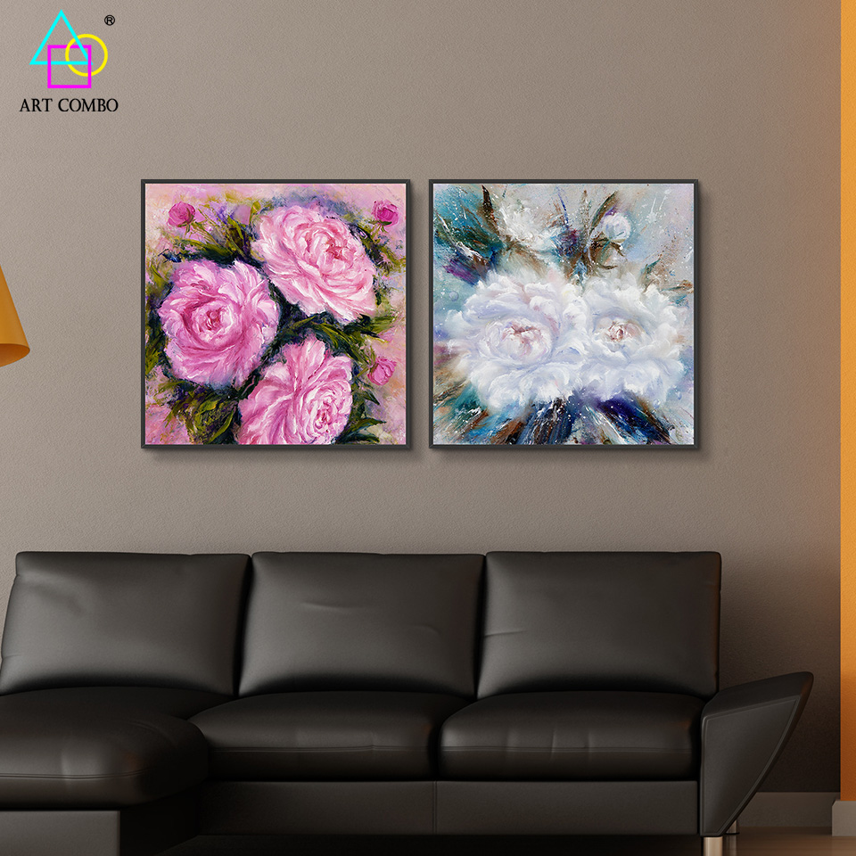 2 pieces beautiful flowers and cute birds print painting for Cute house decor