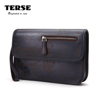 TERSE Luxury Brand Mens Fashion Clutch Bag 100 Handmade Genuine Leather Document Engraving Bag For Male
