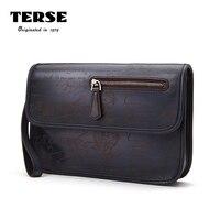 Terse_luxury бренд мужской клатч 100% ручной работы Пояса из натуральной кожи документ гравировка мешок для мужской пользовательские Услуги t8315