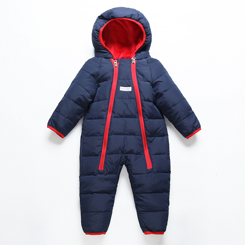 3f8975027ee6 80% Duck Down Jackets Winter Hooded Baby Jumpsuit Outdoor Sport Cool ...
