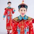 Dragón Chino Tradicional Antigua Reina de Baile Cosplay de Las Mujeres de la Dinastía Qing Emperador Traje Cheongsam Ropa con Sombrero