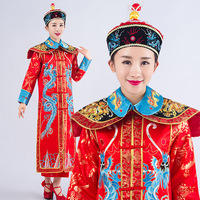 Dragon Chinese Traditional Emperor Costume Ancient Queen Dance Cosplay Costume Women Qing Dynasty Clothing Cheongsam with Hat