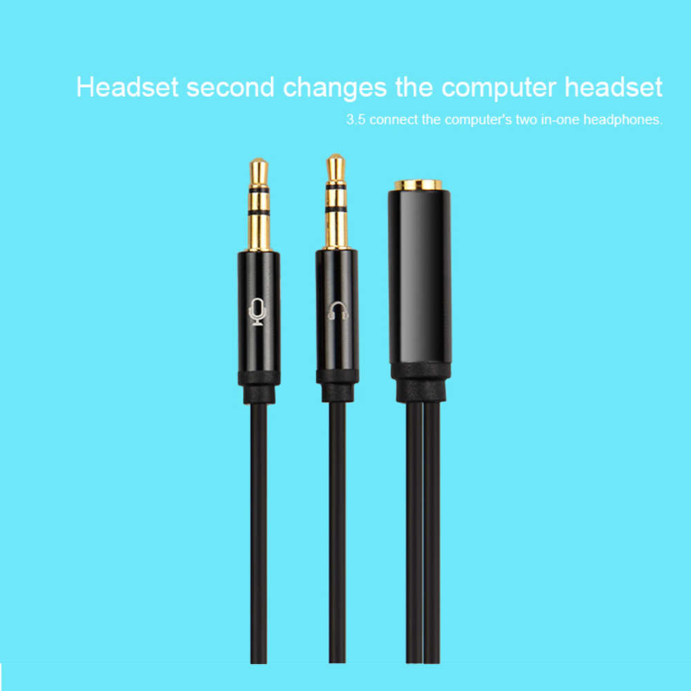 Jack 3.5mm Audio Cable Headphone Microphone Splitter 2 Male to Female Jack 3.5 Extension Aux Cable Adapter for Phone Latpop 30cm