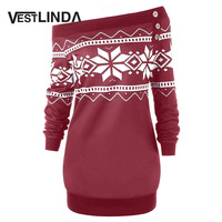 VESTLINDA Plus Size 5XL Women Tops Skew Neck Snowflake Geometric T Shirt Pullover Autumn Casual Button