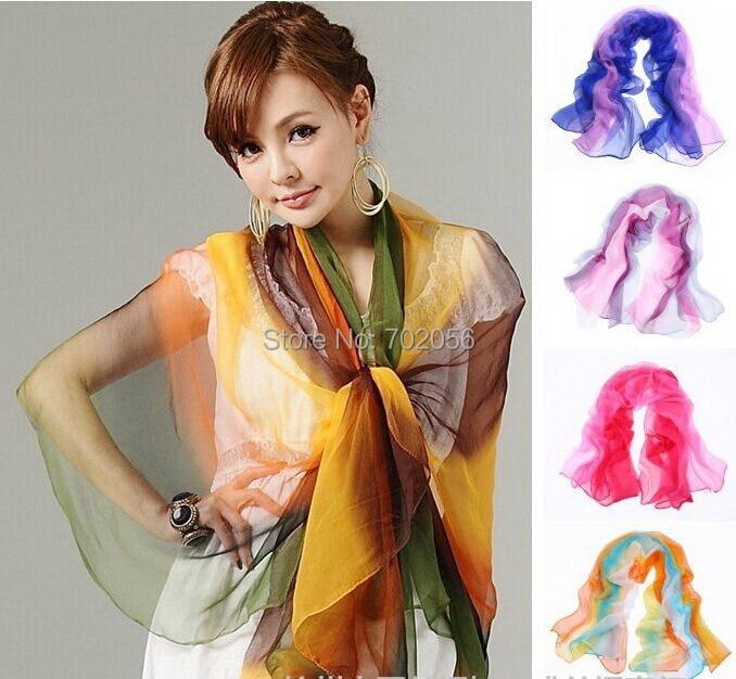 jauna ierašanās gradienta krāsas zīda šalles apsega šalle - Apģērba piederumi