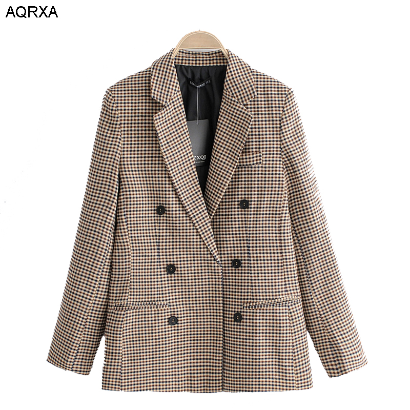 2018 women plaid blazer autumn Blazer cotton linen notched single button drop shipping SML office lady casual female coat gray