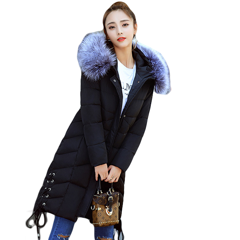 2017 New Women Winter Large Purple Faux Fox Fur Collar Hooded Women Parkas Female Thicken Long Slim Warm Coats 3 Colors CM1513 new winter jacket coats 2017 women parkas long slim thicken warm jackets female large fur collar hooded cotton parkas cm1350