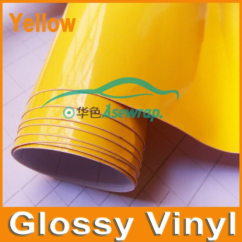 1.52x30 m/Roll Haute Brillant Noir D'enveloppe de Vinyle De Voiture Wrap avec Air bulle Brillant jaune Vinyle Ultra Brillant Wrap Film autocollant de voiture wrap