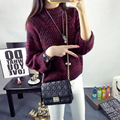 Engrosamiento de cuello alto manga farol suéter del diseño del suéter corto de las mujeres prendas de vestir exteriores floja otoño e invierno suéter básico