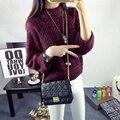 Espessamento de gola alta manga lanterna camisola das mulheres pullover projeto curto outerwear solto outono e inverno camisola básica