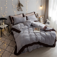 2017 New winter black lace bedding sets Fleece fabric bed linen duvet cover bed sheet pillow case set king queen size
