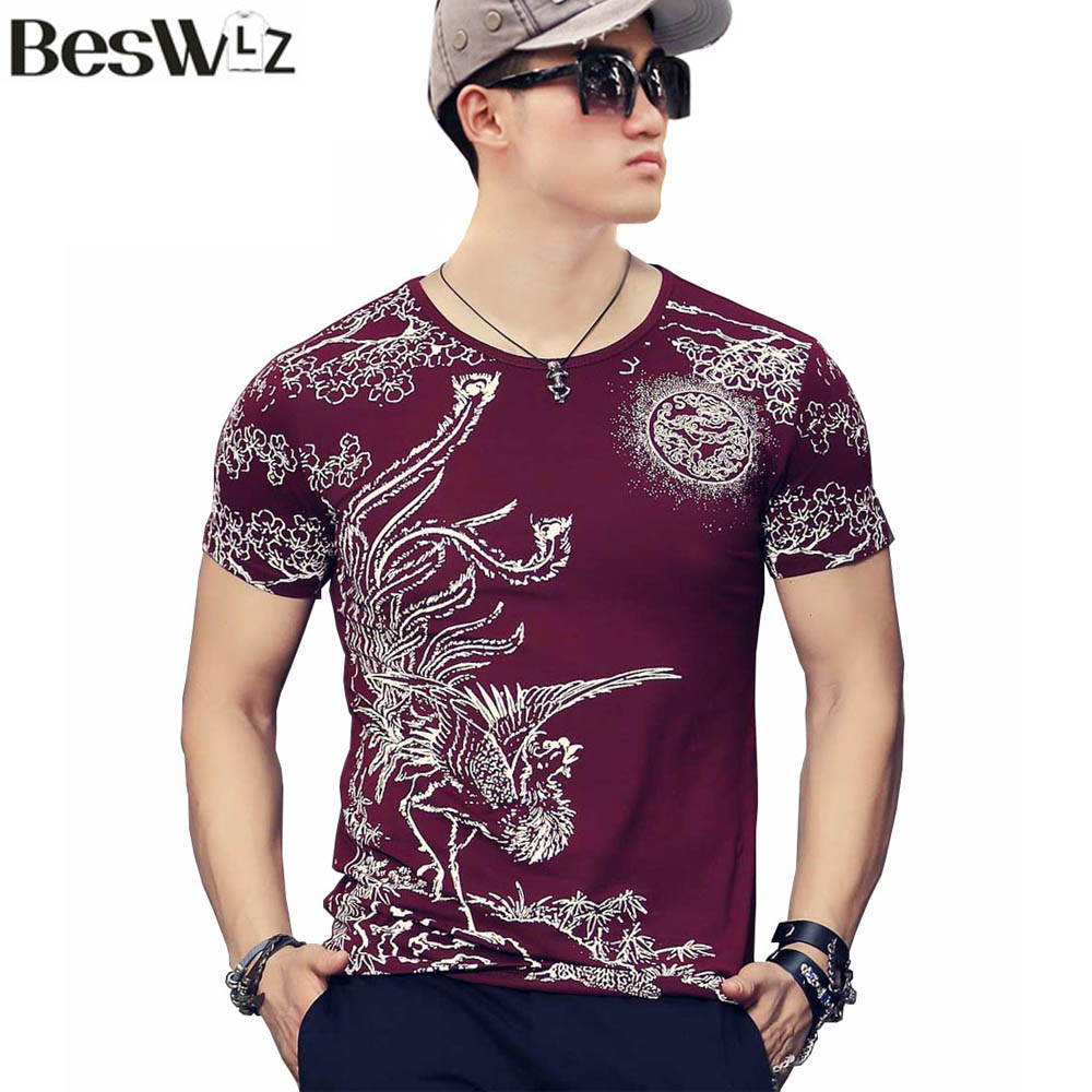 Beswlz summer men printed t shirts short sleeve o neck men for Printed short sleeve shirts