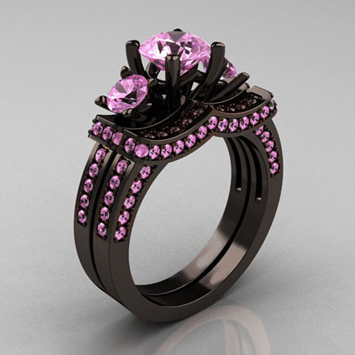 Black And Pink Wedding Rings: Light Pink Cubic Zirconia Silver Black Plated Women's