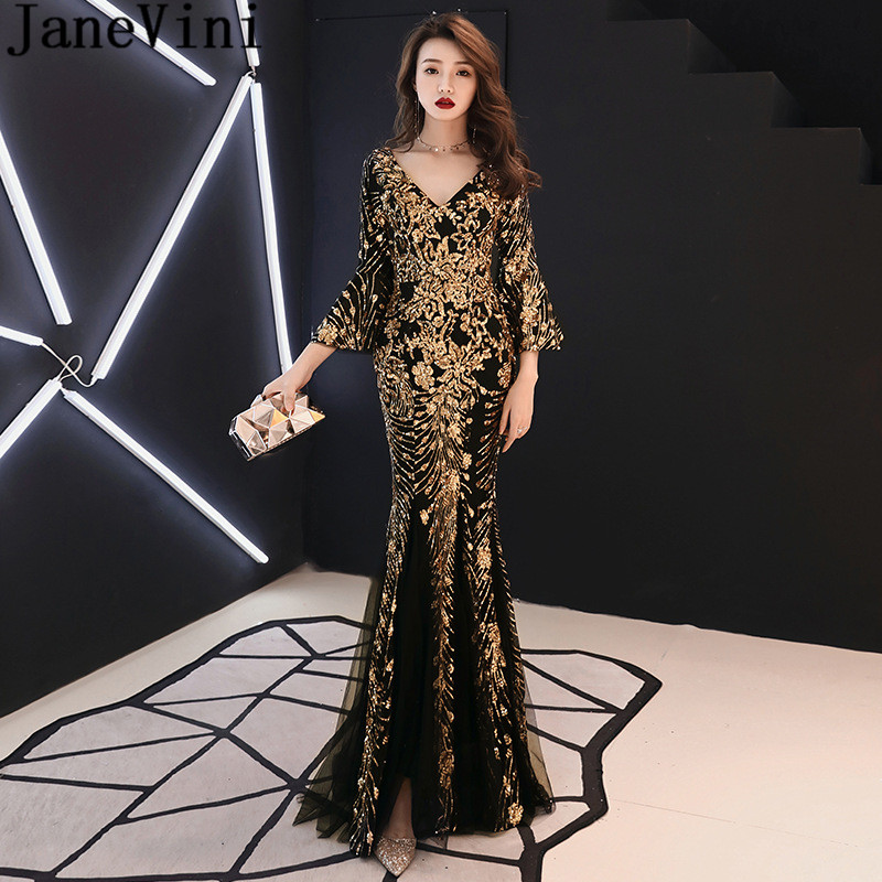 a07796f0ac7ce JaneVini Gold Sequins Formal Evening Dress Gown with Sleeves Arabic ...