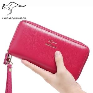 Image 5 - KANGAROO KINGDOM luxury genuine leather women wallets long double zipper lady clutch purse brand hand bag for