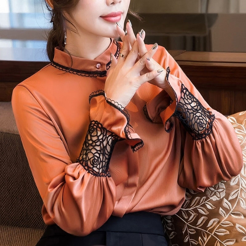 Women Spring Summer Style Chiffon Blouses Shirts Lady Casual Long Hollow Out Sleeve Blusas Tops DF2282