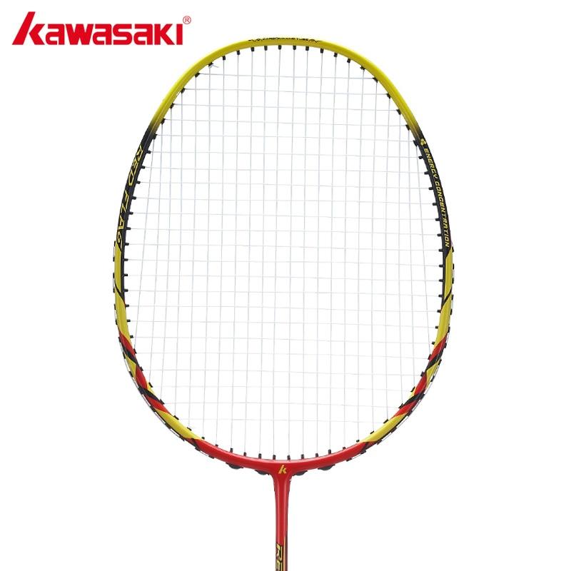 Kawasaki Original Badminton Racket with String Professional Badminton Racquet Racquette for Junior Red Flag F100 kawasaki original badminton racket offensive type 18 30lbs graphite fiber badminton racquet for junior players firefox 570 sd
