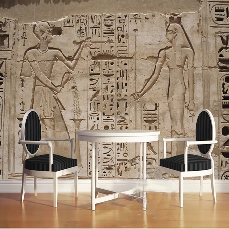 Custom Photo Wallpaper 3D Ancient Egypt Pharaoh Stone Carving Living Room Bedroom Home Wall 3D Non-woven Waterproof Mural Roll