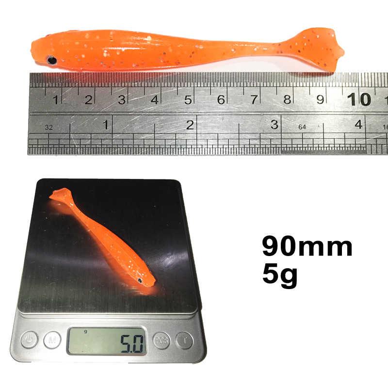 KASSYAA 4 cái/lốc 90mm 5g Nhân Tạo Câu Cá Đầu Jig Mềm Dụ Mồi Mái Chèo Đuôi Swimbait Bass Minnow Cao Su nhựa Cá KXY082