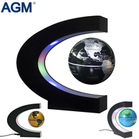 US EU Plug Floating Globe With LED Lights C Shape Tellurion Magnetic Levitation Floating World Map