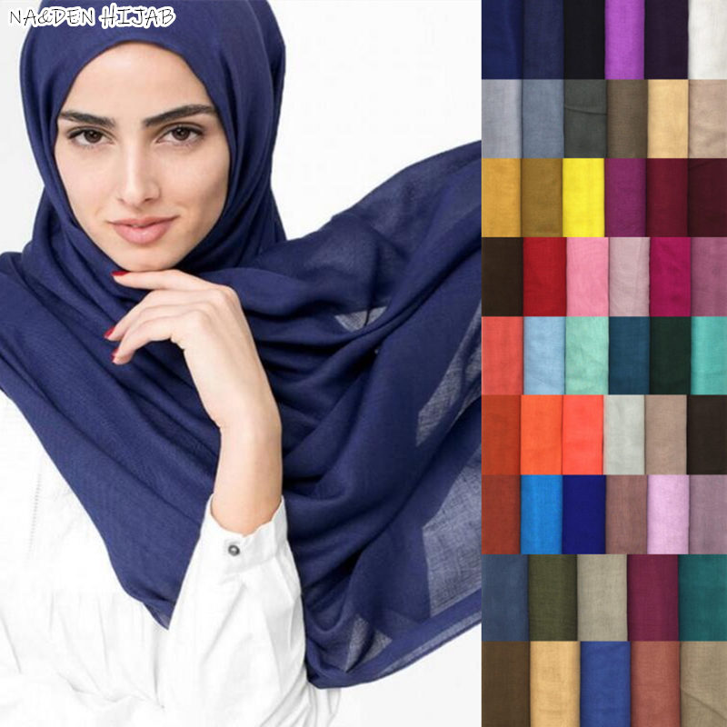 Hot Sale Maxi Plain Scarf Solid Hijab Fashion Wraps Foulard Viscose Cotton Shawls Soft Islamic Muslim Women Scarves Hijabs