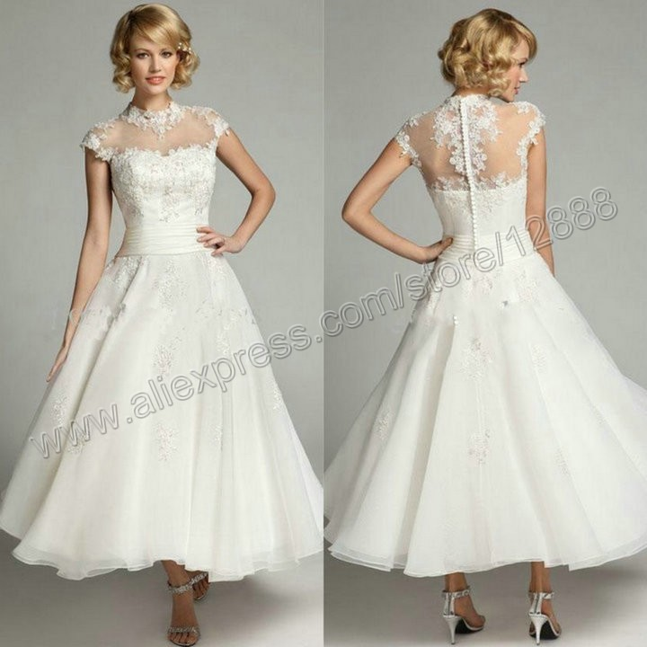 Ivory organza and lace high neck ankle length beach for Lace ankle length wedding dress