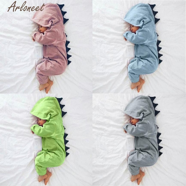 806506e6f ARLONEET Newborn Infant Baby Boy Girl Dinosaur Hooded Romper Jumpsuit  Outfits Clothes Baby Clothing Fabrics P30 Dec11